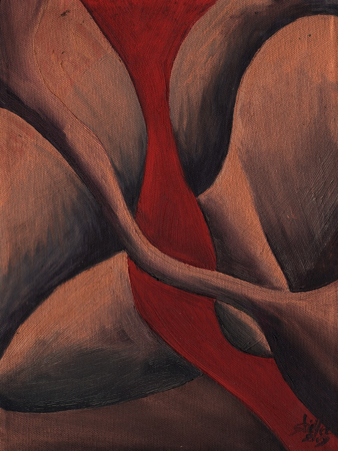 "Red Wave #2, Original Oil Painting, 9""x12"", Abstract, Red, Copper, Black"