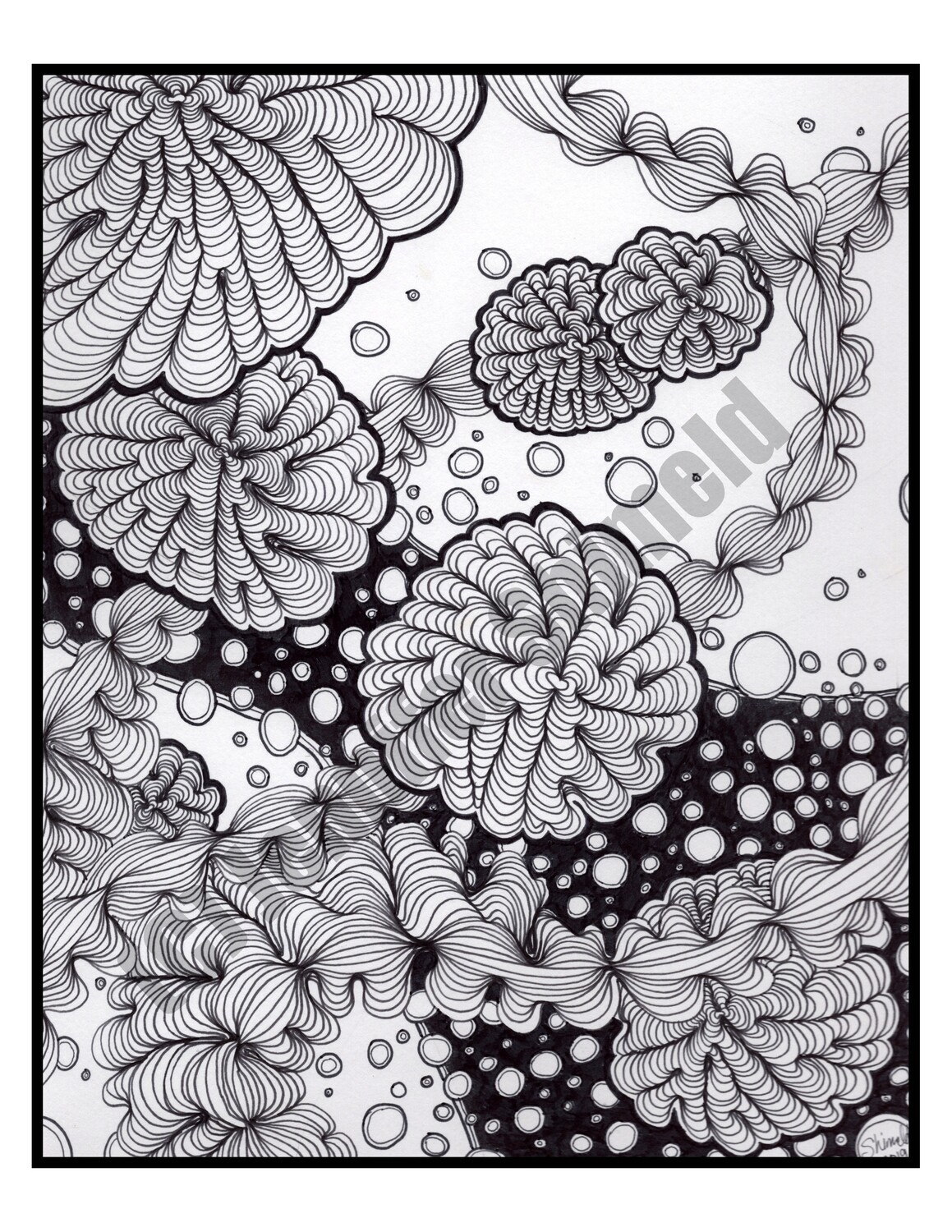 """Digital Download Bubbles Abstract Pen and Ink Contour Line Drawing 8.5""""x11"""""""