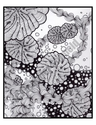 Digital Download Bubbles Abstract Pen and Ink Contour Line Drawing 8.5