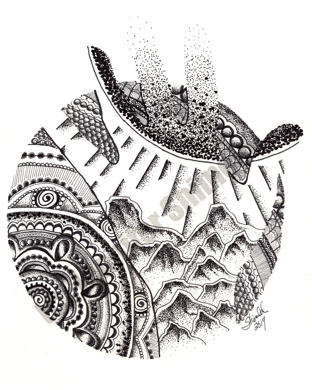 "Digital Download Mandala Hand Mountain Pen and Ink Contour Line Drawing 8""x10"" 300dpi"