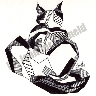 Digital Download Siamese Cat Pen and Ink Drawing 6