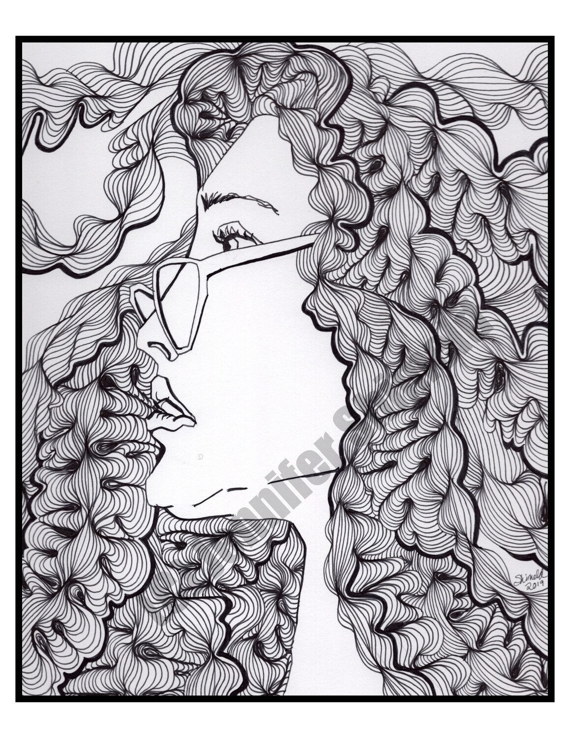 """Digital Download Lady with Wavy Hair Abstract Pen and Ink Contour Line Drawing 8.5""""x11"""" 300dpi"""