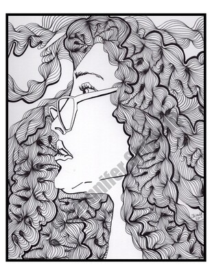 Digital Download Lady with Wavy Hair Abstract Pen and Ink Contour Line Drawing 8.5