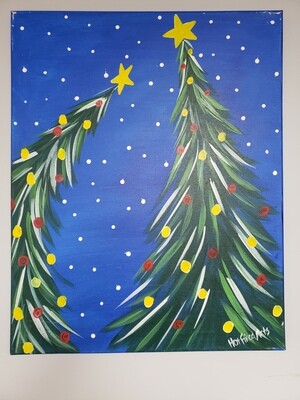 Canvas: 2 Christmas Trees