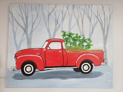 Canvas: Vintage Truck w Tree