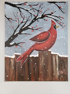 Canvas: Cardinal on Fence