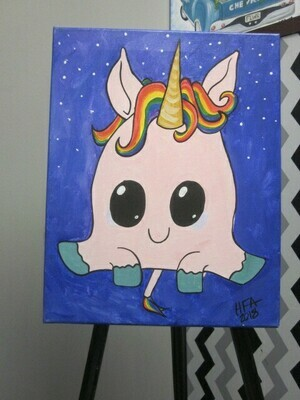 Pudgy Unicorn 11x14 Canvas