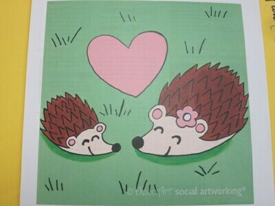 HedgeHog Love 12 x 12 Canvas