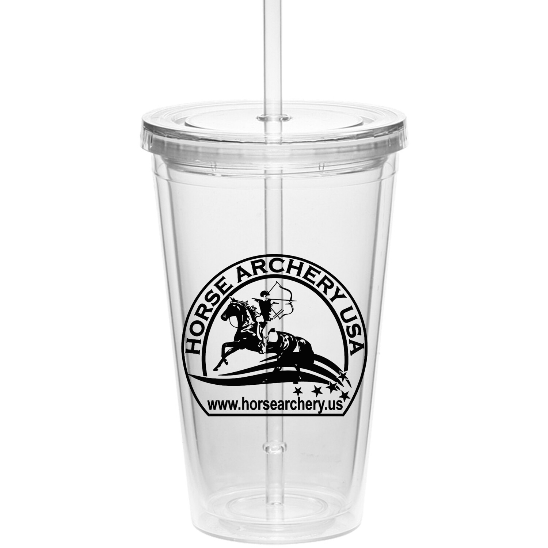 HAUSA Clear Tumbler w/ straw