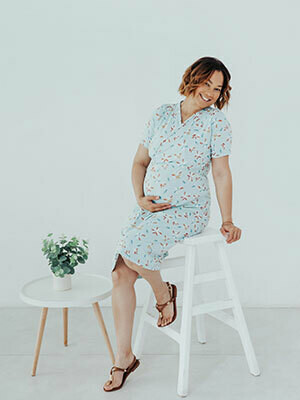 Maternity Floral Light Blue Dress
