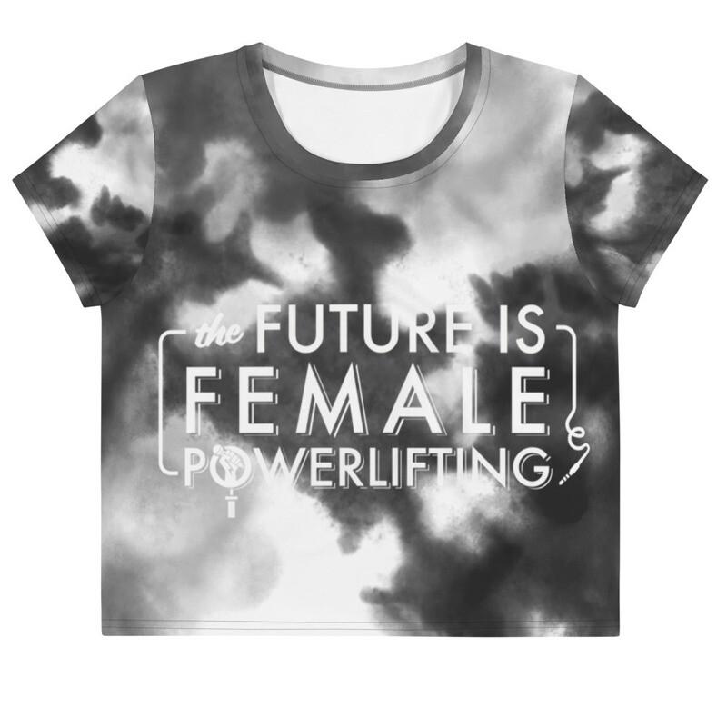 Future Is Female Powerlifting Crop Tee- Black Tie Die