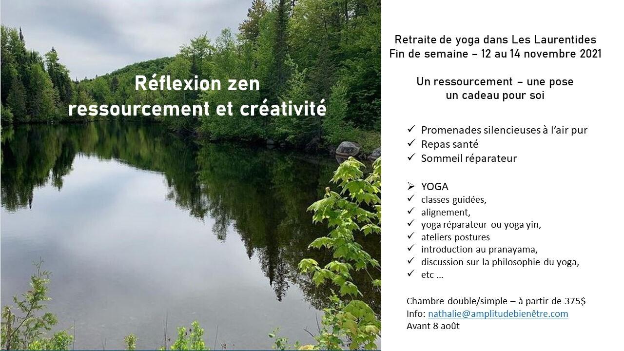 Retraite de yoga dans Les Laurentides weekend 12 au 14 novembre 2021