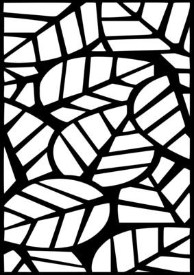 A4 Stencil Pattern Leaves