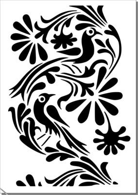 A4 Stencil Bird Filigree 2