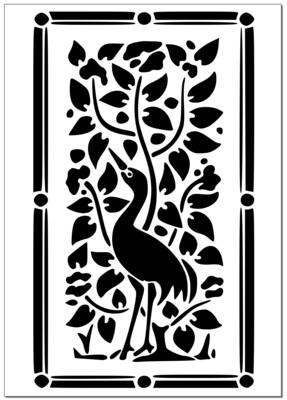 A4 Stencil Bird Filigree
