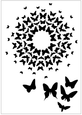 A4 Stencil Butterfly Circle