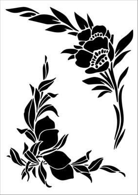 A4 Stencil Corner Flower