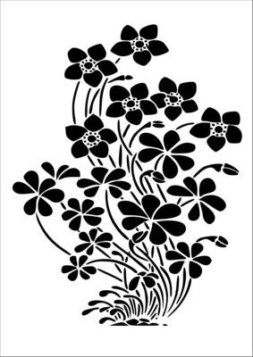 A4 Stencil Flower bush
