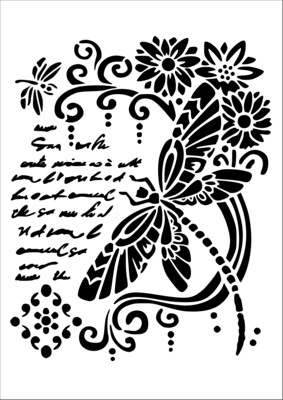A4 Stencil Dragonfly