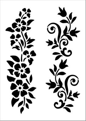 A4 Stencil Flower meadow