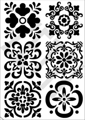 A4 Stencil Mexican Tile 1