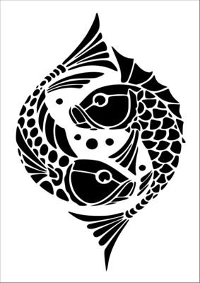 A4 Stencil Fishies