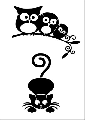A4 Stencil Owls watching cat