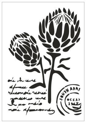 A4 Stencil Protea Stamp