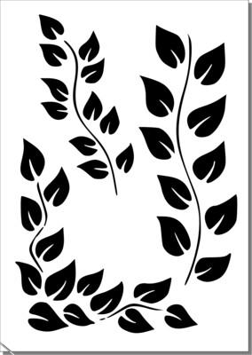 A4 Stencil Leave flourish