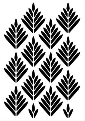 A4 Stencil Pattern Geometric Leaves