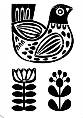 A4 Stencil Folk Art Bird