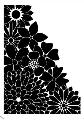 A4 Stencil Flowers Corner