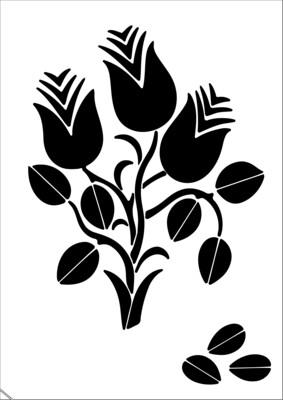 A4 Stencil Folk Art Flowers