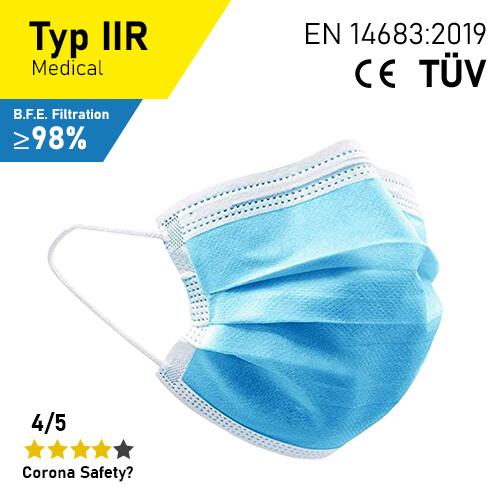 Hygienemasken - Typ IIR - 50er Packung (CE + TÜV)