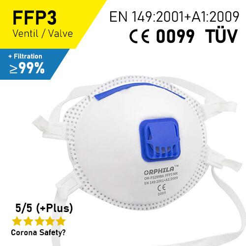 FFP3 Atemschutzmaske - 5er Packung / CE + TÜV-Geprüft