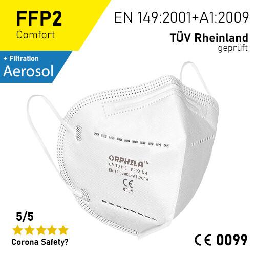 FFP2 Atemschutzmaske - 10er Packung / TÜV-Rheinland geprüft