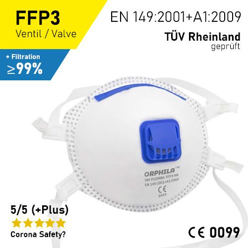 FFP3 Atemschutzmaske - 5er Packung / CE + Prüfbericht TÜV-Rheinland