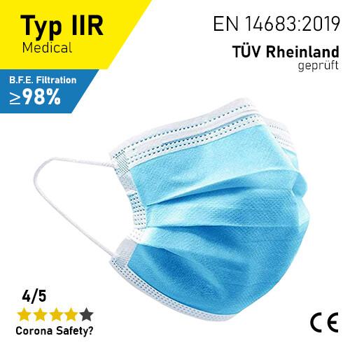 Medizinische Masken - Typ IIR - 50er Packung / TÜV Rheinland geprüft