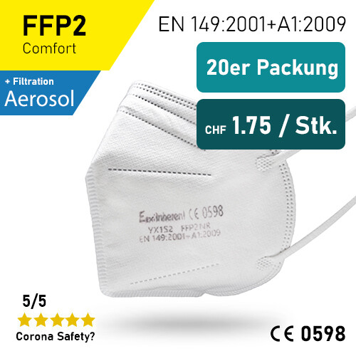 ExiInherent FFP2 Atemschutzmaske 20er Packung / SGS geprüft
