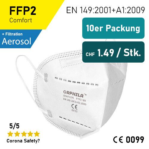 Orphila Medical FFP2 Atemschutzmaske - 10er Packung / TÜV-Rheinland geprüft