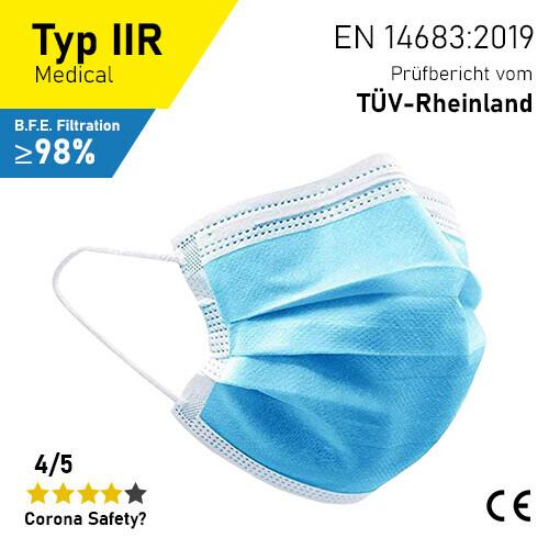 Medizinische Masken - Typ IIR - 50er Packung / inkl. Prüfbericht TÜV-Rheinland