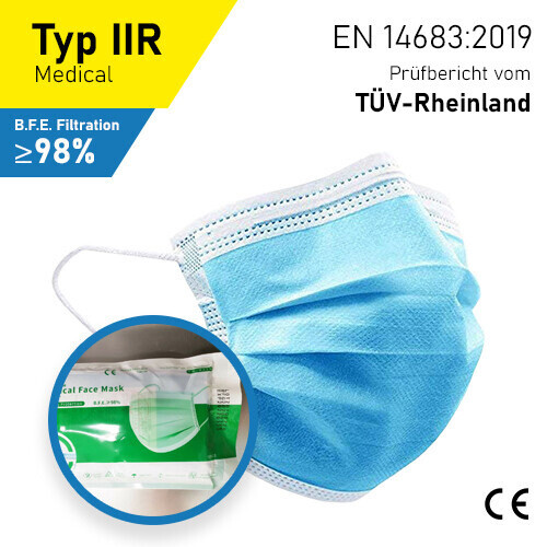 Medizinische Masken - Typ IIR - 10er Packung - Wiederverschliessbar