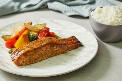 Teriyaki Salmon Fillet and Grilled Vegetables