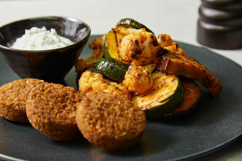 Homemade Harissa Roasted Vegetables with Falafel & Coconut Tzatziki (V)(GF)