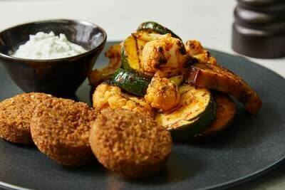 Homemade Harissa Roasted Vegetables with Falafel & Coconut Tzatziki (V)(GF)