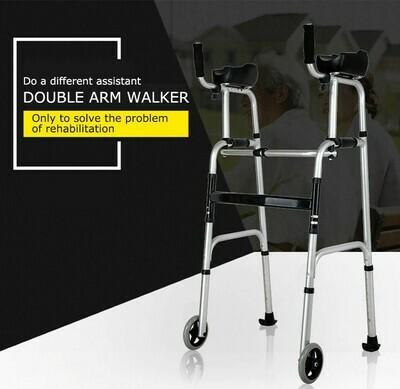 兩輪摺疊式鋁合金助步器(附助力架及皮革坐板)