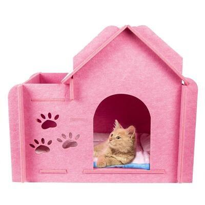 Felt Indoor House Cat Nest (Optional: with Soft Cushion)