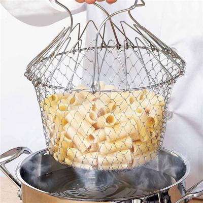 不銹鋼摺疊油炸網籃   Stainless Steel Drain Basket