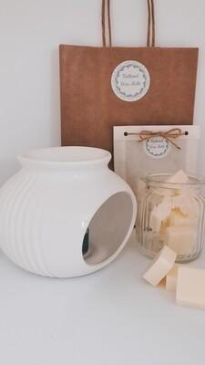 Sofia Groove White Wax Burner Set