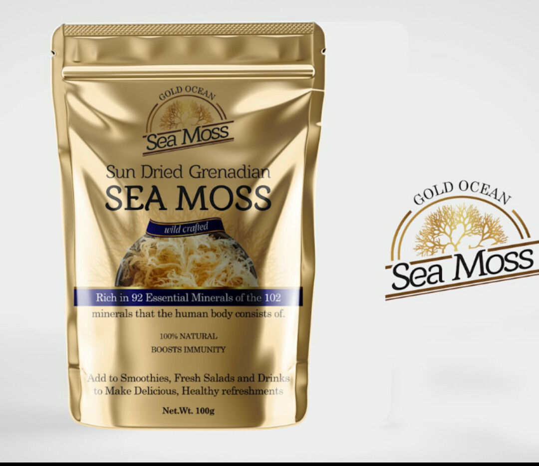 Wild Crafted Gold Grenadian Gracilaria sea moss and Jamaican bladderwrack mixed blended  100g